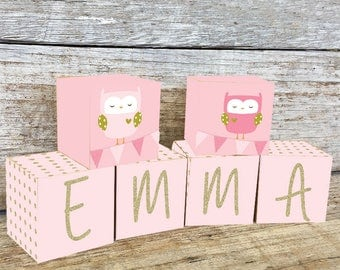 Pink Gold Owl Name Blocks, Nursery Decor, Nursery Name Personalized Wooden Blocks