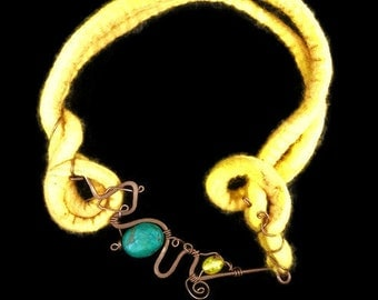 Outrageously Expensive, Most Expensive, Overly Priced Turquoise Necklace, Yellow Felted Necklace, Copper Wire Jewellery, Wearable art, OOAK