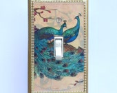 Fancy trim on Peacock Switchplates with MATCHING SCREWS- Peacock wall decoration peacock switchplates peacock wallpaper peacock switch cover