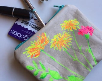 Painted Chrysanthemums,  Flowers on Leather Zipper Pouch, Hand Painted, Soft Lamb Leather, Linen Lined Wallet