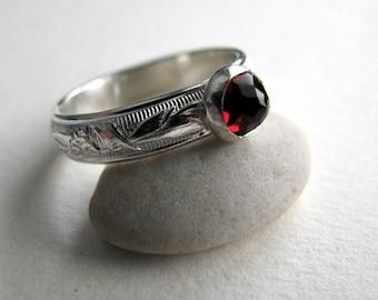Garnet Ring, Sterling Silver Gemstone Ring Size 8, Red Garnet and Silver Ring