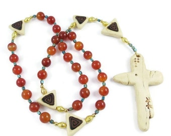 Fire Agate Anglican Rosary Handmade Polymer Clay Imitative Ivory Cross and Focal Beads Trinity Symbolism Protestant Gift Prayer Beads