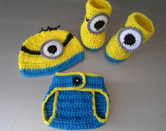 Crochet Baby Infant Boy Minions Diaper Cover Set Photo Prop Shower Gift MADE TO ORDER