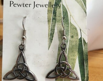 Celtic Knot earrings made with Australian Pewter