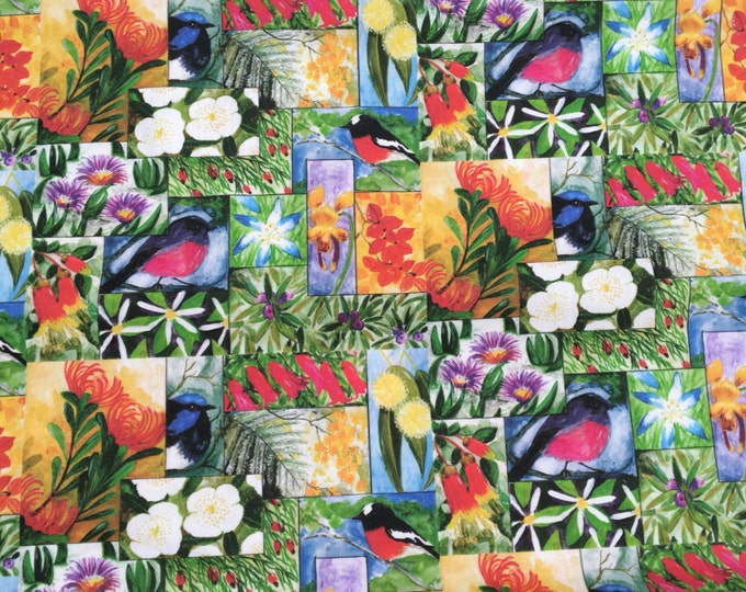 Tasmanian wild birds and flowers fabric repeate pattern by Cindy Watkins