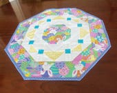 Easter Quilted Table Topper,Easter Bunny Table Decor, Colored Eggs,Spring Table Topper,,Yellow. Orchid Turquoise, Octagon Table Topper,