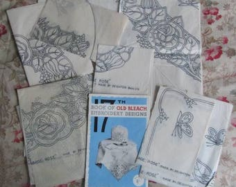 Vintage Embroidery Transfers/Patterns  x 20- Cabbage Rose & Booklet - Old Bleach Ireland - 17th Edition