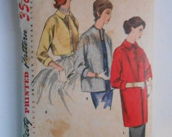 Vintage 50s Evening Coat Topper Pattern Simplicity 1451 Size 16 Bust 34