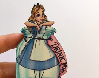 Alice Drink Me Bottle - Alice in Wonderland - Laser Cut Wood Brooch