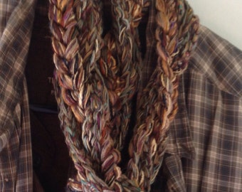 Men's crochet scarf, chunky handmade winter scarf, tribal rustic brown green gold beige rust wool blend knit i357 Life's an Expedition