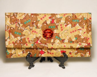 Christmas Wallet / Gingerbread Men Wallet / Quilted Wallet / Quilted Christmas Wallet / Trifold Wallet / Christmas Gift / Handmade Wallet