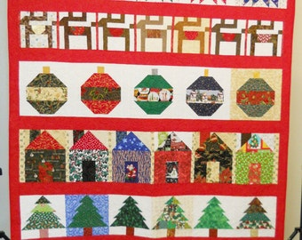 Christmas Quilt / Christmas Row Quilt / Twin Size Christmas Quilt / Christmas Decor / Christmas Blanket / Scrappy Christmas Quilt