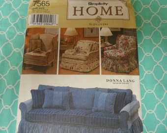 Simplicity HOME 7565  Slipcovers Pattern by Donna Lang One Size Chair and Sofa covers.