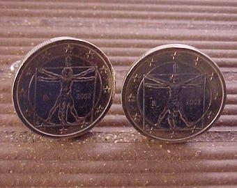 Da Vinci Vitruvian Man Coin Cuff Links - Italy 1 Euro Coin