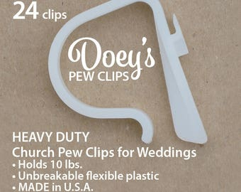 Pew Clips attach Wedding Ceremony Church Aisle decorations to Pews, Chairs, Tables to hang Bows, Flowers and Mason Jars 24 Doey's Pew Hooks