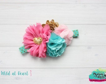 Valentine's Day headband { Wild at Heart } pink, gold, teal, baby girl headband wedding, first birthday cake smash photography prop