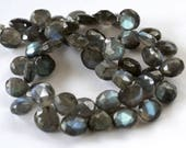 Labradorite Gemstone.  Semi Precious Gemstone Bead. Faceted Heart Briolette. 9-9.5mm Pairs or Non Matching 1 to 9 Briolettes (flab).