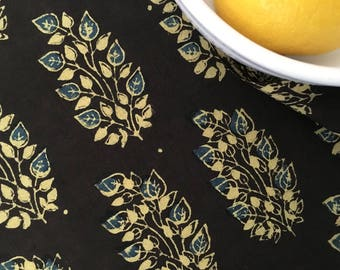 Hand Block Printed Fabric from India - Cotton - Floral - by the yard