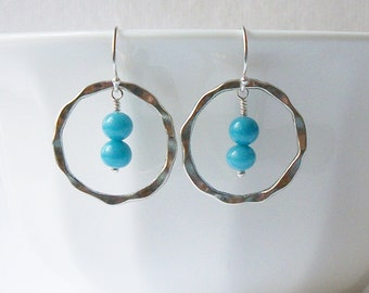 Blue Circle Dangle Earrings, Eco-Friendly Jewelry