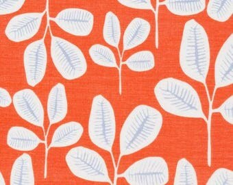Organic Cotton Batiste, Cloud9 , Friday Fronds, Tangerine from Leah Duncan's Floret Collection, by the yard
