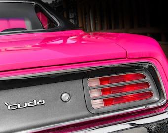 Plymouth Barracuda PINK Car Photography, Automotive, Auto Dealer, Muscle, Sports Car, Mechanic, Girls Room, Garage, Dealership Art