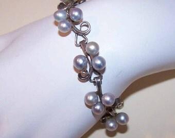 Vintage STERLING SILVER & Silver Grey Cultured Pearl Bracelet