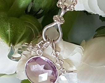 Yoga Amulet, Amethyst and Rainbow Moonstone Faceted Discs with Om Syllable in Solid Sterling Cluster, OOAK Ready to Ship