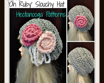 crochet pattern hat, Red CHUNKY SLOUCHIE HAT num  215, by hectanooga on etsy.Oh Ruby age 5 to adult, Free Crochet Pattern in description