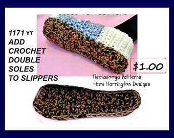 CROCHET PATTERN, crochet video tutorial, How to add double soles to slippers, knitting supplies, crochet supplies, #1171yt