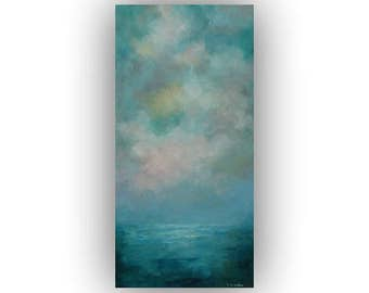 Blue Abstract Seascape on Canvas- Small Ocean Night Sky and Clouds Oil Painting- Original 10 x 20 Palette Knife Art