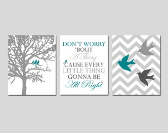 Bob Marley Decor Set of 3 - Don't Worry Bout A Thing Bob Marley Lyrics, Chevron Birds, Three Little Birds in a Tree - CHOOSE YOUR COLORS