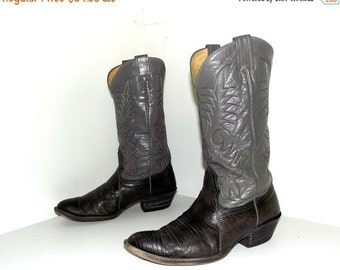 Two tone grey Nocona brand cowboy boots size 9 E or cowgirl size 10.5 wide width with lizard foot