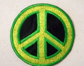 Peace Sign Sew On Patch Neon Green Black Retro Hippie Gypsy Embroidered