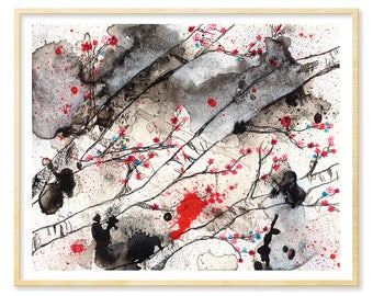 Abstract Watercolor Print, Cherry Blossoms, Forest Print, Birch Trees, Black, White, Enchanted Forest, 8.5x11, 11x14, Illustration Print