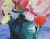 Red.....impressionistic, contemporary, floral, red flower, camellia, impasto..