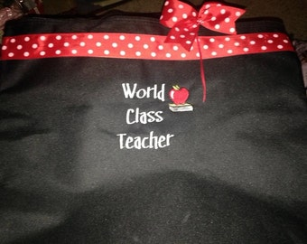 World Class Teacher Tote Bag personalized GIFT 4 special teacher Ribbon enhanced custom made book tote for that special  teacher.