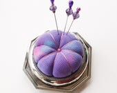 Hand Dyed Silk Pincushion - Stering Silver & Silverplated Base - Matching Sewing Pins - Sewing Accessory - Gift for Quilter - Mother's Day