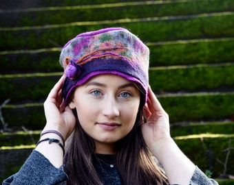 Unique felt hat, merino wool, Felted pillbox, handmade in France, womens stylish hat for any occasion, gift mother, daughter
