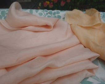 "Silk Fabric Madder Dyed 2 Pieces Pale Pink and Light Orange Habotai Silk Fabric 9"" x 36 and 36"" x 36"" Art Fabric Rubia Natural Plant Dye"