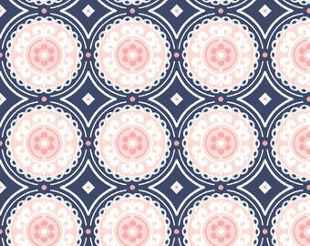 Navy and Pink Fabric - Navy And Pink Medallion By Sugarfresh - Navy And Pink Cotton Fabric By The Yard With Spoonflower