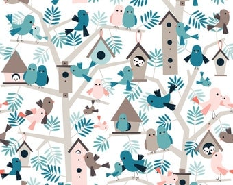 Bird Fabric - Bird Family Tree By Heleenvanbuul - Woodland Birds Cotton Fabric By The Yard With Spoonflower