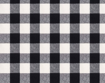 """Black and White Check Fabric - 2"""" Buffalo Check In Ebony By Willowlanetextiles - Plaid Check Cotton Fabric By The Yard With Spoonflower"""