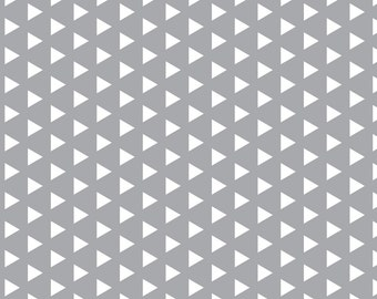 Gray + White Triangles Fabric - Triangles On Grey - Rotated By Modfox - Gray Geometric Triangles Cotton Fabric By The Yard With Spoonflower