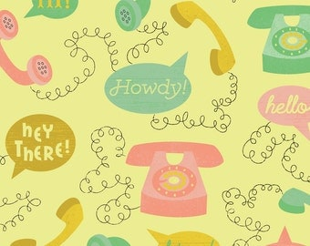 Hello Telephones Fabric - Telephones- Yellow By Mintgreensewingmachine- Retro Phone Speech Bubble Cotton Fabric By The Yard With Spoonflower