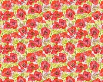 Poppy Fabric -California Poppies Botanical Sketchbook Sm By Robinpickens- Red Watercolor Floral Cotton Fabric By The Yard With Spoonflower