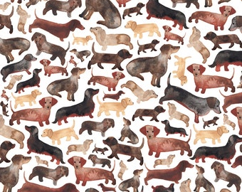 Dachshund Fabric - Dachshund By Elena O'Neill Illustration - Watercolor Weiner Dog Pet Cotton Fabric By The Yard With Spoonflower