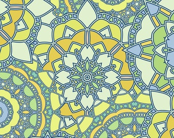 Mosaic Mandalas Fabric - Mosaic By Juliabadeeva - Blue and Yellow Mosaic Mandalas Cotton Fabric By The Yard With Spoonflower