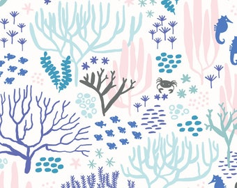 Botanical Ocean Coral Fabric - Seahorse By Meghannrader - Under The Sea Ocean Coral Pastel Cotton Fabric By The Yard With Spoonflower