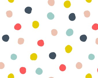 Rainbow Dots Fabric - Dancing Dots By Amandacallcott - Rainbow Dotted Nursery Decor Cotton Fabric By The Yard With Spoonflower