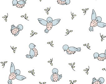 Blue Birds Fabric - Little Bird By Sweetmelodydesigns - Baby Birds Blue Sweet Nursery Decor Cotton Fabric By The Yard With Spoonflower
